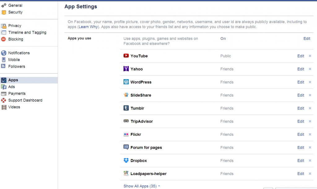 List all other applications connecting your facebook and settings.