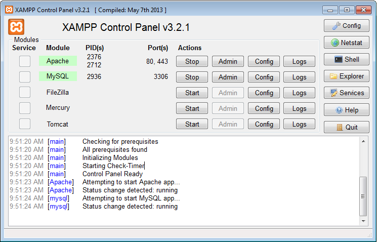 Bảng điều khiển Web Server XAMPP