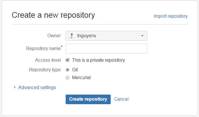 Create a new repository in Bitbucket