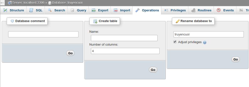 Rename database in phpmyadmin