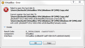 VirtualBox Duplicate UUID