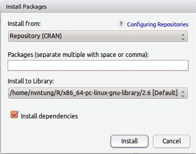 Hộp đối thoại để install packages in RStudio