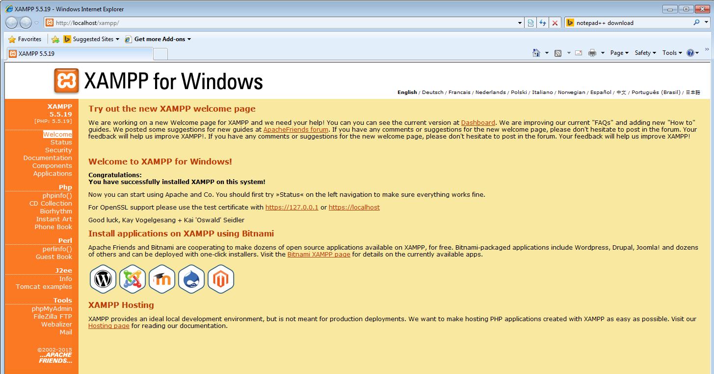 Màn hình trang chủ XAMPP