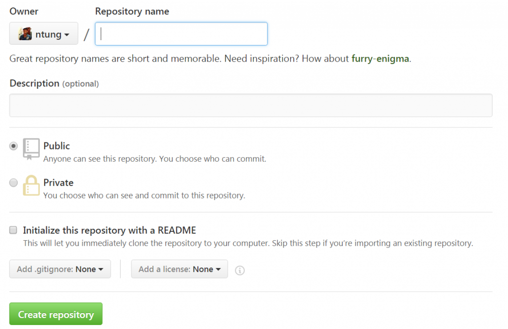 Create a new repository in GitHub