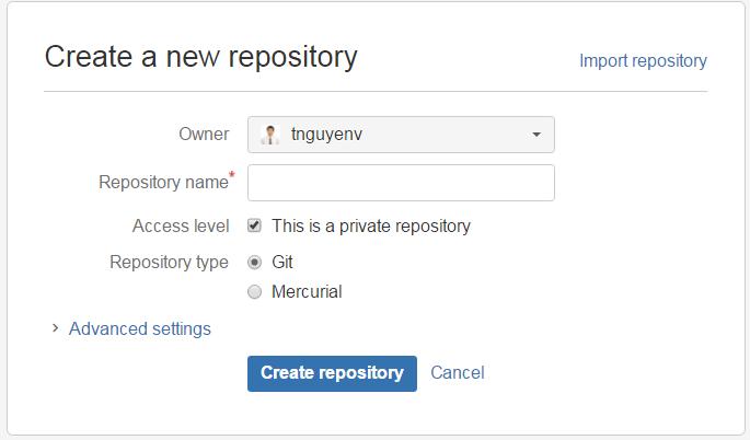 Create a new repository in Bitbucket